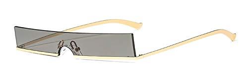 WDXDP Sonnenbrillen Mens Schmale Sonnenbrille Frauen Halbrand Rotgold Rechteckige Sonnenbrille Für Männer Vintage Retro Uv400 Metal Wie Im Foto Gold Mit Schwarz