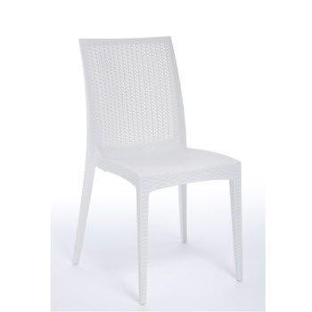 Grandsoleil BOHEME Greenpol Chaise empilable Vert, polymère, Blanc, 53.5 x 49 x 89 cm