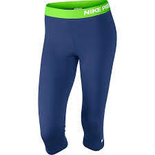 Nike Damen Capri Pro Deep Royal Blue/Flash Lime/White, L (Nike-flash-hosen)