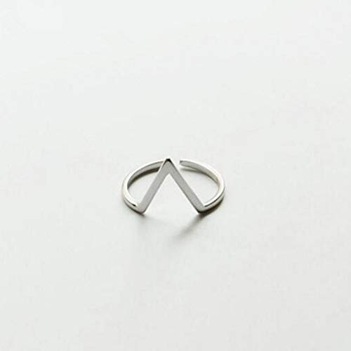 WULIAOZHIJI Ringe,Mode Schmuck Sterling Silber 925 Einfache V Word Öffnen Element Persönlichkeit Schönen Ring -