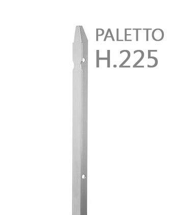 Nextradeitalia Cf. da 10PZ Paletto a T ZINCATO per recinzioni da GIARDINO, recinzione in ferro sezione mm 30x30x3 altezza Palo 225 CM Colore ZINCO