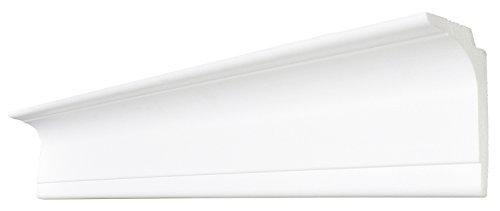 DECOSA Zierprofil L100 SASKIA - Multifunktionale Stuckleiste in Weiß - 1 Leiste à 2 m Länge = 2 m - Licht- oder Gardinen-Leiste - Styropor 65 x 100 mm - Für Decke oder Wand