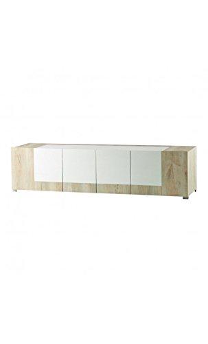 CAMINO A CASA - Meuble TV design blanc et bois 4 portes Mars