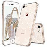 MOSNOVO Cover iPhone 8, Bianco Henna Mandala Pizzo Fiori Trasparente con Disegni TPU Bumper con Rigida Trasparente con Protettiva Custodia Posteriore per iPhone 8 (White Henna)