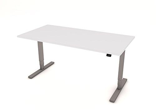 Small & Medium ufficio: sit-stand Desk in argento grigio con piano MFC in bianco o (2 White Piatto Mat)
