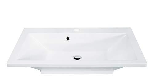 FACKELMANN Waschbecken DOMINO / Waschtisch aus Gussmarmor / Maße (B x H x T): ca. 80 x 17 x 50 cm / Einbauwaschbecken / hochwertiges Becken fürs Badezimmer und WC / Farbe: Weiß / Breite: 80 cm
