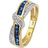 Ring Gold 9 Karat (375) Saphir Diamant Größe I (Saphir-und Diamant-gold-ring)