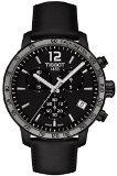 Tissot Men's 42mm Black Calfskin Band Steel Case Swiss Quartz Chronograph Watch T0954173605702