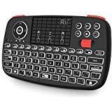 (New) i4 Tastiera di Rii Mini Wireless, 2 in 1 (Bluetooth & Wireless a 2,4 GHz), AZERTY, retroilluminato, Touch Pad, per iOS, Android Box, Smartphone, PS4, Xbox, Apple TV, Tablet, Console PC