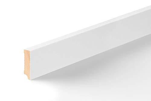 KGM Fußleiste weiß MR 58mm | Modern Bodenleiste weiss ✓Echtholz foliert ✓für Parkett & Laminat ✓wasserfeste PUR Verleimung✓unsichtbare Clip Montage |gerade Fußleisten 16x58x2500mm