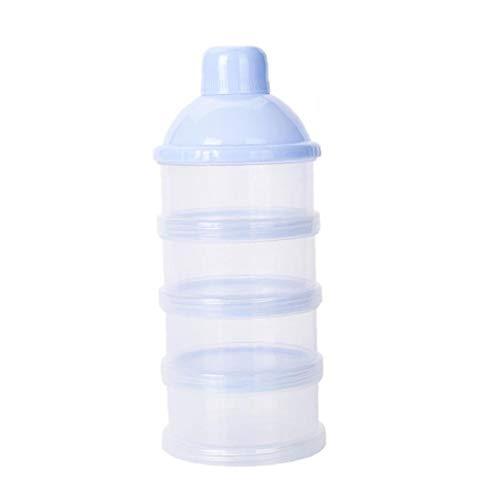 Productos para bebés de bebé de leche en polvo dispensador de alimentación del bebé del recorrido del almacenaje del envase 4 capas apilable para no Derrame Snack contenedor azul