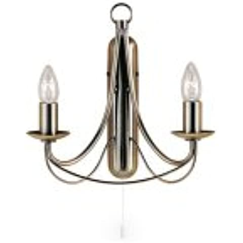 SEARCHLIGHT 6342-2AB - SEARCHLIGHT NOVA 2 LIGHT ANTIQUE BRASS WALL BRACKET