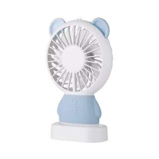 BBQBQ USB-Lüfter Mini Fan USB Lade Cartoon tragbare Fan Nacht hellblau bär 10 * 3,7 * 16 cm - Fitnessstudio Billig Bars