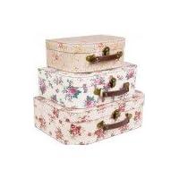 Sass & Belle Set of 3 Vintage Rose Suitcase