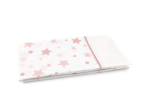 MI CASA Funda Almohada Cuna Estrellas 30 x 60, Rosa, 30 x 60 cm