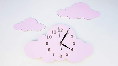 BABEES Kinder Wanduhr Wolken, Uhr ohne Tickgeräusche, Kinderuhr für Kinderzimmer, Lautlos Uhrwerk, Wanddeko Skandi Deko Mädchen rosa pink