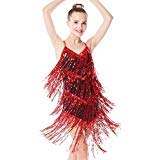 MiDee Mädchen Pailletten Quasten Latein Kleid Ballroom Tanzen Kostüm (Rot, SC)