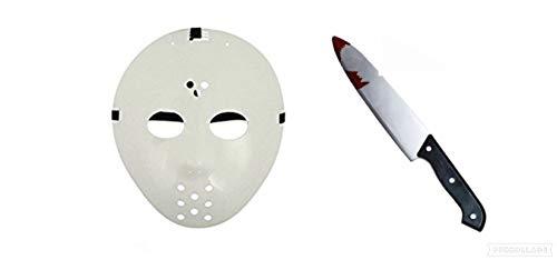 day-13. Jason Halloween Kostüm Hockey Maske & Blutgebeiztes Messer ()