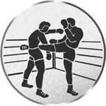 S.B.J - Sportland Pokal/Medaille Emblem, Motiv Kickboxen, Durchmesser 50 mm, Silber