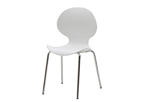 White loft, set di 4 sedie, metallo, bianco, 48x42x82 cm