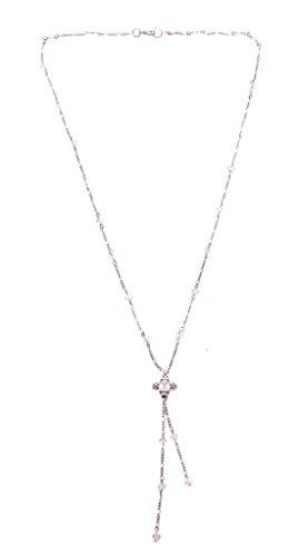 énigmatique Double fils de chaîne et pendentif diamant Transparent–Collier Femme–Métal réglable (zx148/156)