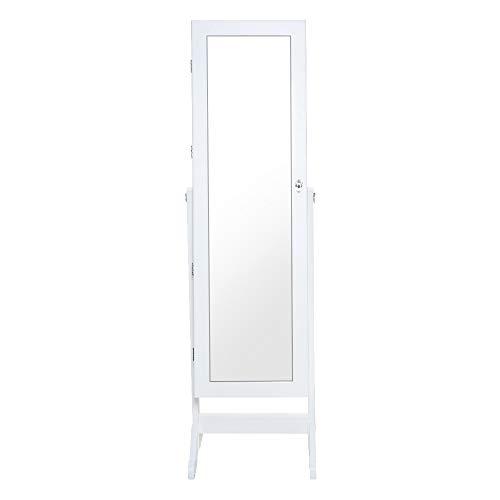 Floor Spiegelschrank (Schmuck-Spiegelschrank Aufbewahrung, freistehender Schmuckschrank Aufbewahrung, abschließbar, große Speicherkapazität, Schmuck Armoire Organizer mit voller Länge Spiegel für Aufbewahrung Ringe)