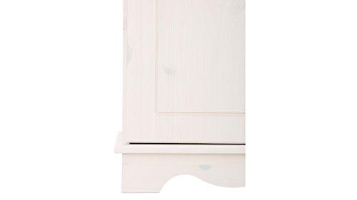 Sideboard, Holztür, Kiefer massiv, gebeizt geölt, havanna, weiß, Holzgriff, 4 Schubladen, T153 x B35 (weiß) - 6
