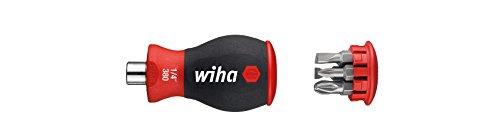 """Wiha Magazin-Bithalter Stubby 3801-04/Mini Schraubendreher mit 6 Bits im Griff/Schraubenzieher magnetisch mit Schlitz und Pozidriv Bits/1/4\"""""""