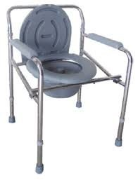 Chaise percée avec WC en acier chromé et réglable en