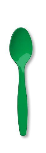 Touch der Farbe Premium 50Zählen Kunststoff Löffel, smaragd grün (Mardi Gras Tischdecken)