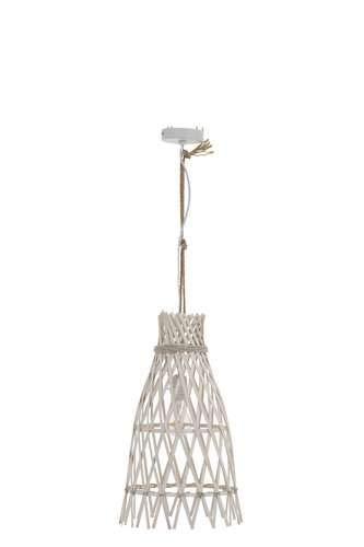 Petite lampe suspension ethnique en bambou blanc