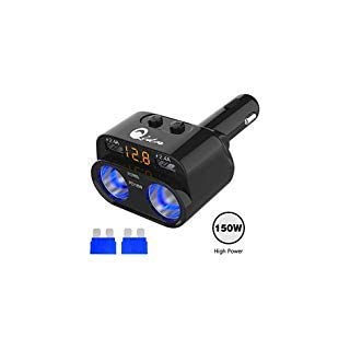 150W Zigarettenanzünder Verteiler Adapter, 12V/24V DC 2 Steckdose Multi Buchse Auto Splitter PD Typ C USB KFZ Ladegerät mit LED Voltmeter Schalter 6.8A Dual USB Anschluss für iPad Handy GPS Dashcam