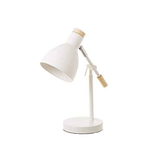 Lámpara flexo escritorio nórdica metal madera blanca