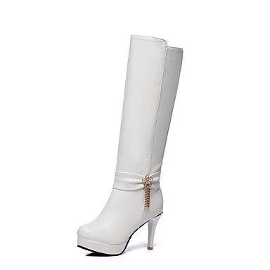 RTRY Scarpe Donna Similpelle Autunno Inverno La Moda Stivali Stivali Stiletto Heel Round Toe Ginocchio Alti Stivali Fibbia Per Abbigliamento Casual Nero Marrone US5 / EU35 / UK3 / CN34