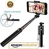 LXCN® Compact Wired Monopod Extendable Selfie Stick with AUX Wire Built-in Remote Pocket