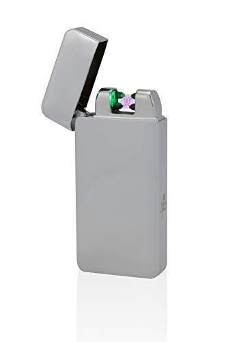 Tesla-Lighter T10 | Lichtbogen Feuerzeug mit Photosensor, Plasma Double-Arc, elektronisch wiederaufladbar, aufladbar mit Strom per USB, ohne Gas und Benzin, mit Ladekabel, in edler Geschenkverpackung, Silber