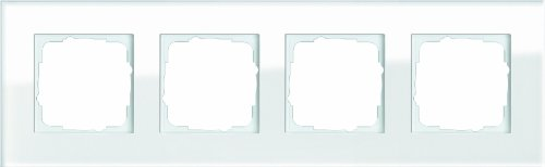 Gira 021412 Abdeckrahmen 4-Fach Esprit Glas, weiß - Glas 4 Licht Unterputz