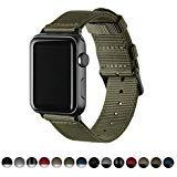 Archer Watch Straps | Bracelets de Remplacement en Nylon pour Apple Watch, Homme et Femme | Vert Olive/Noir, 42mm