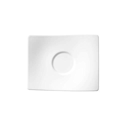 Villeroy & Boch NewWave Untertasse, 16 cm, Premium Porzellan, Weiß Eine Untertasse