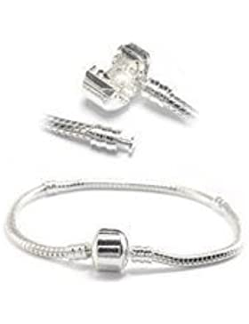 8.5 Inch .925 Stamped Silver Barrel Clasp Charm Bracelet. Compatible With Most Major Charm Beads.