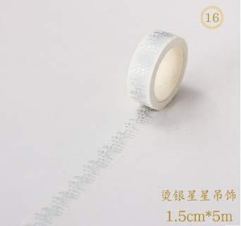 TAPEPRO 1 Teile/Satz Schöne Japan Heiße Silber Serie Und Band Aufkleber Stern Flagge Hand Konto Rahmen 0. 8/1,5/3 Cm * 5 Mt, 16