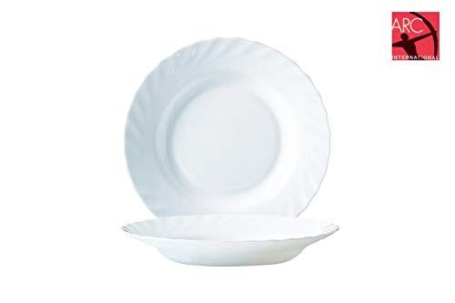 Arcoroc ARC D6889 Trianon Uni Teller tief, 22,5 cm, Opalglas, weiß, 6 Stück