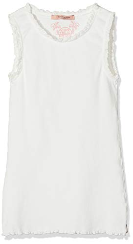 Scotch & Soda R´Belle Mädchen Basic Rib Tank with lace Details at Armhole and Neckline Top, Weiß (Off White 001), 116 (Herstellergröße: 6) -