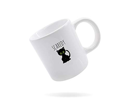Alicert5II Scaredy Cat Mug S¨¹?e Tasse Scaredy Cat White Mug 11oz Mug Kaffeetasse Handcrafted Mug Geschenk f¨¹r jedermann Cat Cat Lady Lover Halloween