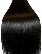Extensions für komplette Haarverlängerung zum Einnähen oder Kleben - hochwertiges Remy-Haar - 100 g - 35 cm - Naturschwarz- 1B