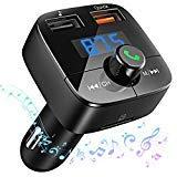 DIYIN Co FM Transmitter Auto Bluetooth, KFZ Adapter Radio Dual USB Port (5V/2.4A, 5V/1A) Bluetooth Car Kit mit Aux in, Sprachnavigation und Freisprecheinrichtung für iOS und Android Port Adapter