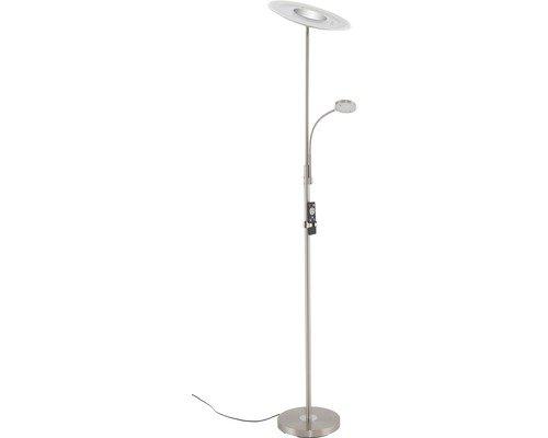 Briloner Leuchten - LED Stehleuchte, runde Stehlampe mit Lesearm, Stufenlos Dimmbar mit Fernbedienung, Metall, 24W, 2700 lm, Matt-Nickel, Höhe: 180 cm