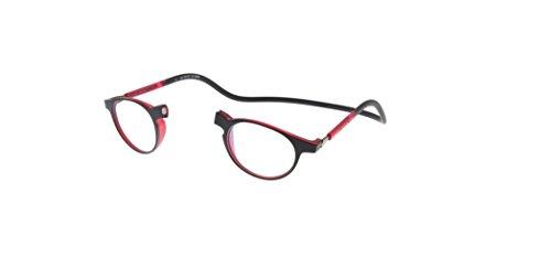 Neu Slastik Magnetisch Clic Stil Lesebrille Rahmen Soho 007 mit weichem Behälter, Verstellbare Bügel & Antireflektierende Brillengläser Dtr +2.5