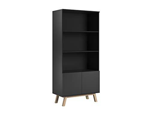 Trend Home Bibliothèque Salon Meuble de Rangement Armoire scandinave 2 Portes 3 étagères Vero (Noir Mat)
