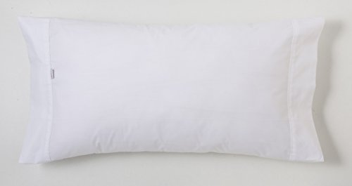 ESTELA - Funda de Almohada Combi Liso Color Blanco - 1 Pieza de 45x155 cm - 50% Algodón-50% Poliéster...